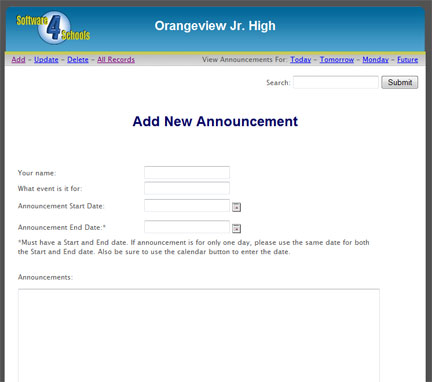 All Staff can add Morning Announcement for your daily announcements