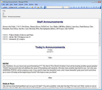 E-mail staff daily announcements