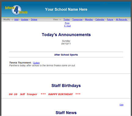 Daily Announcements can be sent to staff